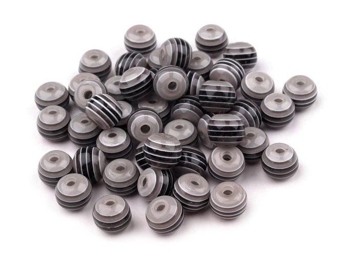 Korálky plastové Ø 8mm Kulička s proužkem (10kusů) - černé