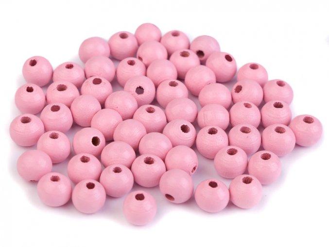 Korálky dřevěné kulička 8 mm (50 kusů) - růžové