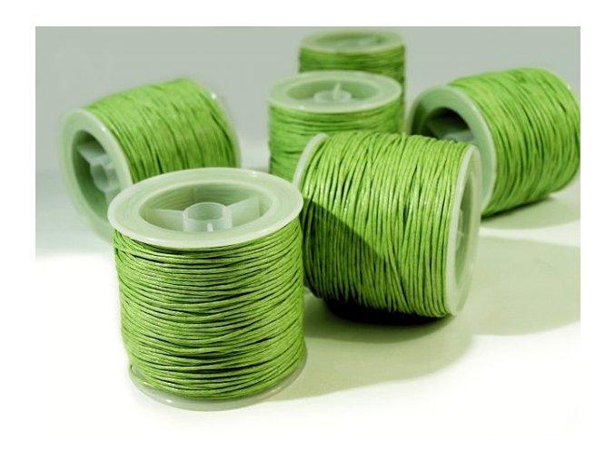 Šňůra bavlněná voskovaná 1mm x 20-30m - sv. zelená