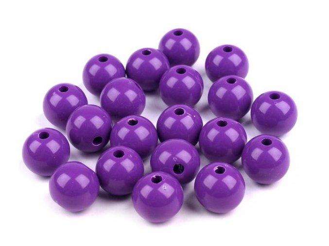 Korálky plastové 12mm Kulička (10ks) - fialové