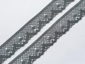 Bavlněná krajka paličkovaná 40 mm - šedá