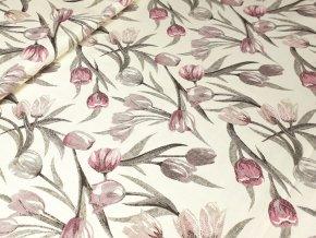 Dekorační látka Tulipány lila na vanilkové