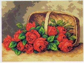 Předloha vyšívací 30 x 40 cm - Košík s růžemi