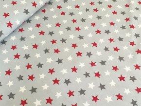 Bavlněné plátno - Hvězdy na šedé