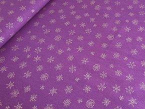 Bavlněné plátno - Vločky zlatotisk na fialové