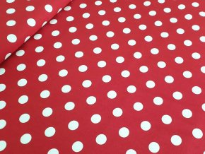 Bavlněné plátno - Puntík 2 cm na červené