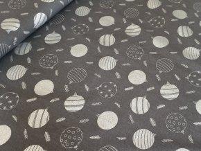 Bavlněné plátno - Koule stříbrotisk na tm. šedé
