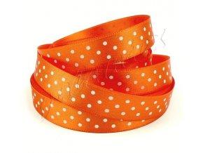 Stuha saténová 15mm puntíky - oranžová