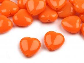 Korálky plastové 13mm Srdce (10ks) - oranžové