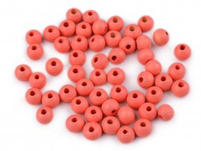 Korálky dřevěné kulička 8 mm (50 kusů) - korálové