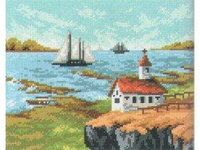 Předloha vyšívací 24 x 30 cm - Dům s loďkou
