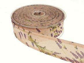 Stuha přírodní šíře 4 cm - levandule