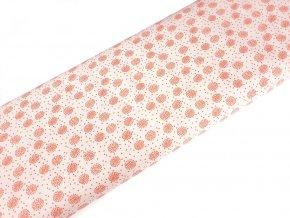 Bavlněné plátno - Korálové puntíky v kolečku na krémově bílé