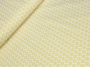 Bavlněné plátno - Ornamenty žlutozelené na krémově bílé