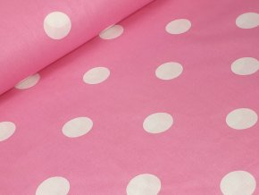 Bavlněné plátno - Puntíky 4 cm na růžové