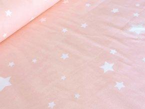 Bavlněné plátno - Hvězdy na baby růžové