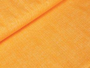 Bavlněné plátno - Lněný efekt oranžová
