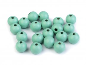 Korálky dřevěné kulička 10 mm (30 kusů) - mentolové