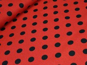 Bavlněné plátno - Puntíky černé 2 cm na tm. červené