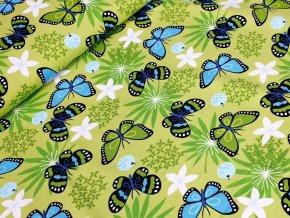 Jednolícní elastický úplet - Motýli na zelené