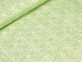 Bavlněné plátno - Krajka zelená na krémově bílé