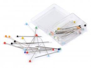 Špendlíky se skleněnou hlavičkou 0,6 x 30 mm - 50 kusů
