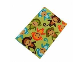 Obal na očkovací průkaz - opice na zelené
