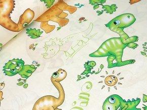 Bavlněné plátno - Dinosauři na sv. žluté