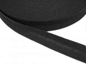 Šikmý proužek bavlněný šíře 14 mm - černý