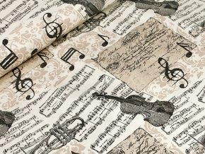 Bavlněné plátno - Hudební nástroje béžové