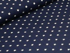 Jednolícní elastický úplet - Hvězdičky na tm. modré