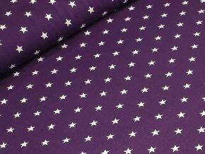 Jednolícní elastický úplet - Hvězdičky na fialové
