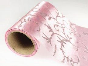 Organza šířka 14 cm řezaná s glitry - sv. růžová