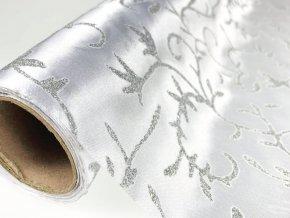 Organza šířka 36cm řezaná s glitry - bílá