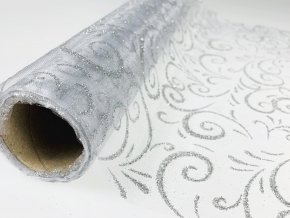 Organza šířka 36 cm řezaná s glitry - čirá