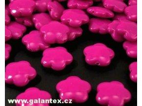 Korálky plastové 15mm Květina (10ks)  - tm. růžové
