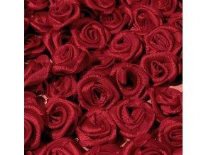 Růžička saténová Ø 10-12mm (10 kusů) - vínová