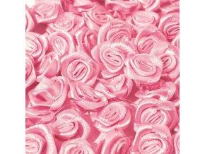 Růžička saténová Ø 10-12mm (10 kusů) - růžová