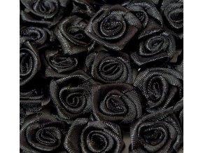 Růžička saténová Ø 10-12mm (10 kusů) - černá