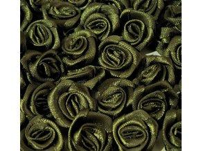 Růžička saténová Ø 10-12mm (10 kusů) - khaki