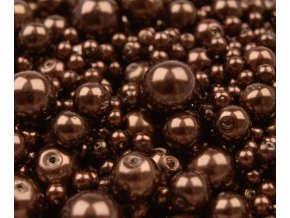 Voskované perly 4-12mm kulička (30g) - hnědé
