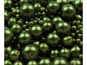 Voskované perly 4-12mm kulička (30g) - olivové