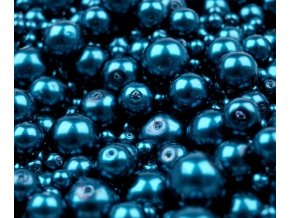 Voskované perly 4-12mm kulička (30g) - tm. tyrkysové