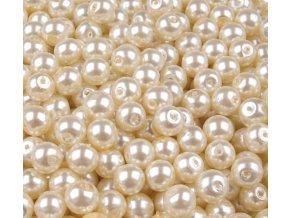 Voskované perly 6mm kulička (50ks) - krémové