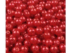 Voskované perly 6mm kulička (50ks) - červené