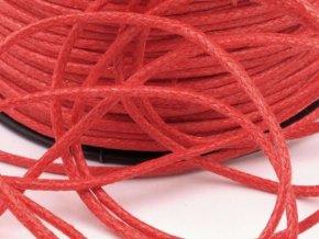 Šňůra bavlněná Ø 1,5mm voskovaná - červenooranžová (5 metrů)