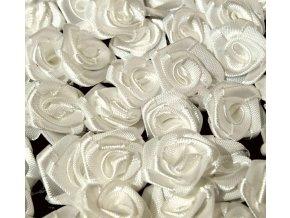 Růžička saténová Ø 10-12mm (10 kusů) - krémově bílá