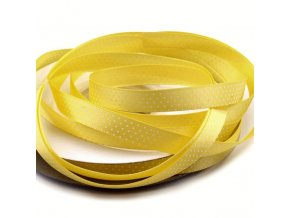 Saténová stuha šířka 10mm tečky  - žlutá