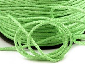 Šňůra bavlněná OE 1,5mm voskovaná - sv. zelená (5 metrů)