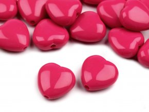 Korálky plastové 13mm Srdce (10ks) - tm. růžové